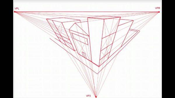 gambar perspektif tiga titik hilang 1